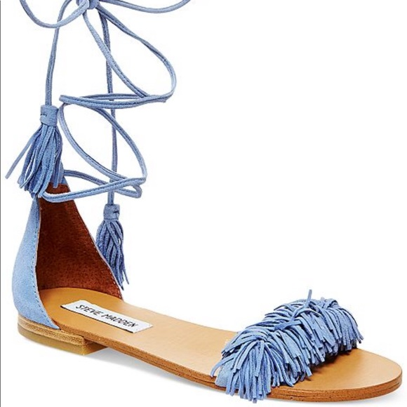 51fc47f0116 Steve Madden blue lace up flat fringe sandals